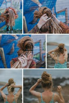 Dread Bun with just 1 elastic. Go to put your hair in a pony tail, but don't pull the hair all the way through, so it's doubled up with the ends hanging out. Then wrap the ends around the elastic and tuck them in wherever they reach around.