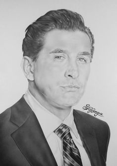 Pencil drawing showing the actor William Baldwin