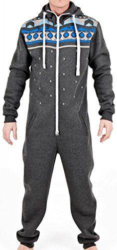 302b97b5c90 SkylineWears Men s Fashion Onesie Hooded Jumpsuit One Piece non Footed  Pajamas Bodysuit Playsuit Medium Charcoal SkylineWears