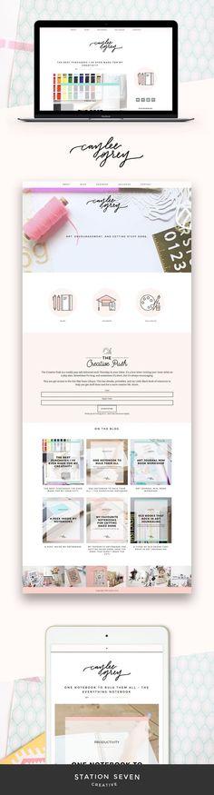 Fun and crafty take on Station Seven's Coastal WordPress theme by Caylee Grey Web Design Trends, Blog Design, Portfolio Design, Website Layout, Branding, Photo Slider, Ecommerce, Minimal Web Design, Graphic Design