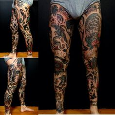 Old school Tattoo legs, traditional tattoo on legs