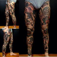 Old school Tattoo legs, traditional tattoo on legs