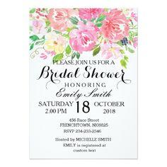 Floral Bridal Shower Invitation Card Party Invite
