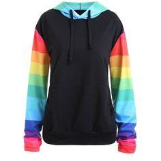 Black 5xl Plus Size Rainbow Stripe Raglan Sleeve Hoodie ($14) ❤ liked on Polyvore featuring tops, hoodies, womens plus hoodies, hooded sweatshirt, plus size hoodie, plus size hoodies and plus size hooded sweatshirts