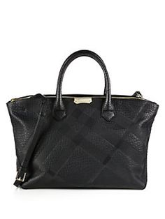 Burberry - Embossed-Check Leather Tote
