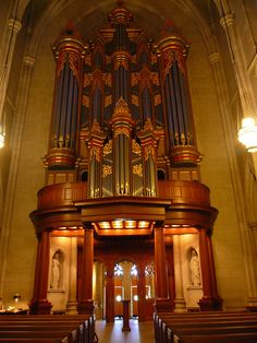 The massive pipe organ inside Duke Chapel