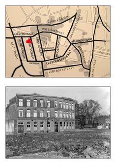 """Dit is de Diezerstraat en het pand is """"koffiehuis de Volksvriend"""". Op de voorgrond de afgebroken staat en huizen van de Mauritsstraat (Krim)."""