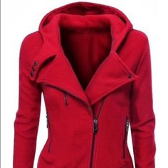 NWT Asymmetrical Fleece Hooded Jacket NWT Asymmetrical fleece hooded jacket with 2 zipper pockets and one zipper accent. Zippers are red as shown in 2nd and 3rd pictures. Tag says XL, but it runs small and fits more like a large.  smoke free  pet free home. ❌ no trades ❌ Tops Sweatshirts & Hoodies