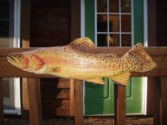 Chainsaw carved, hand painted brown trout wall hanging
