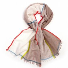 Fraas Colour Block Scarf Natural | Beautiful Pea Green Boat