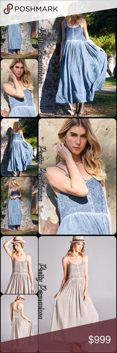 NWT Blue Spaghetti Strap Flowy Maxi Dress Description Coming Soon • Only Available in BLUE Pretty Persuasions Dresses Maxi
