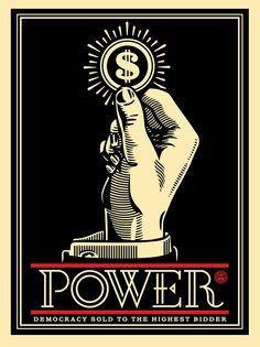 """Power Bidder"" by Shepard Fairey. 18″ x 24″ Screenprint. Ed of 450 S/N."