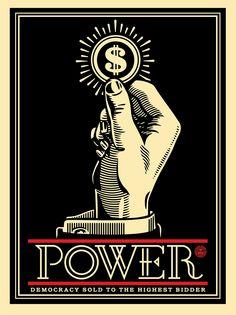 """Power Bidder"" by Shepard Fairey. 18″ x 24″ Screenprint. Ed of 450 S/N."