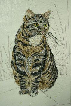 Mosaic animals-The CAT by ari kokomosaico. Mosaic Crafts, Mosaic Projects, Mosaic Designs, Mosaic Patterns, Mosaic Glass, Glass Art, Stained Glass, Sicis Mosaic, Mosaic Animals