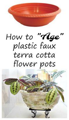 Ηow-to-age-plastic-faux-terra-cotta-flower-pots Πως να κάνουμε μια πλαστική γλάστρα να φαίνεται παλιά