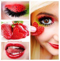 Strawberry inspired makeup (Could be really cute for Halloween) Love Makeup, Diy Makeup, Makeup Art, Beauty Makeup, Makeup Looks, Makeup Tricks, Beauty Skin, Makeup Ideas, Maquillage Halloween