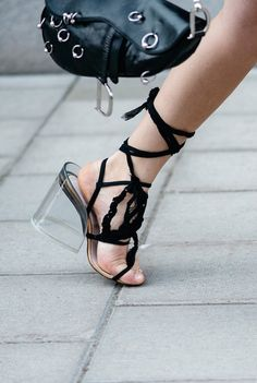 Lace-up rope gladiator lucite heels