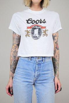 COORS Beer 70's paper thin CROPPED T-shirt // NOIROHIO VINTAGE