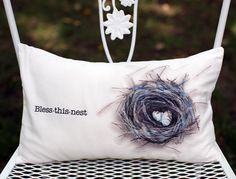Bless This Nest  bird nest decorative accent pillow.. $25.00, via Etsy.