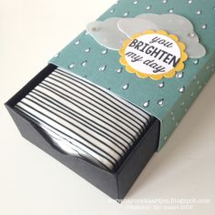 box punched out to fit an individual tissue package... this is adorable... no real instructions but link to a box making measurement site that is very helpful too.... great idea