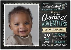 A baby is a big adventure! Introduce your friends and family to your greatest adventure with this adorable chalkboard-inspired birth announcement.