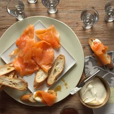 Smoked Salmon Toasts with Malt Vinegar Syrup Recipe - ZipList Seafood Recipes, Appetizer Recipes, Appetizers, Seafood Meals, Sandwich Recipes, New Cooking, Cooking Recipes, Great Recipes, Favorite Recipes