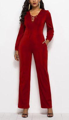 c6428cd773bb Lace-Up Plain Slim Women s Jumpsuit Lace Up