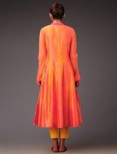 Orange-Pink Panel Chanderi Anarkali Kurta