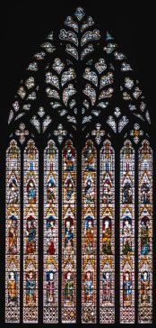 """The beautiful """"Heart of Yorkshire"""" stained glass window inside York Minster"""