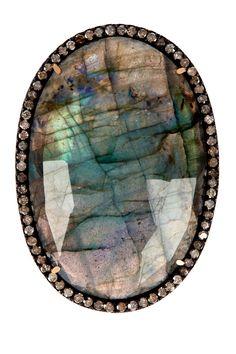 Labradorite & Champagne Diamond Oval Ring