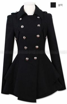 Double Button Slim Elegant Long Sleeve Coat | Beautiful, Wool and ...