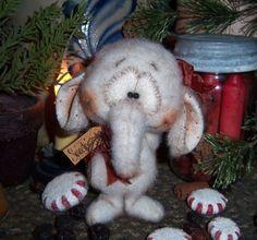 "Primitive Elephant Fuzzy Bear 5"" Mini Circus Doll Vtg Patti's Ratties Ornament ★ For ordering information contact me at pattisratties3d@yahoo.com"