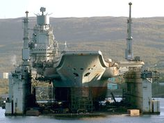 PD-50. One of the largest floating drydocks in the world, able to support the Russian Northern Fleet's biggest ships and submarines, the 'Kuznetsov' class aircraft carriers, the 'Kirov' class battlecruisers and the 'Typhoon' class SSBN.  80,000-ton loading capacity, came from Sweden in 1980.