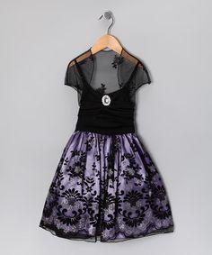 Loving this Purple Glitter Damask Dress & Shrug - Toddler & Girls on #zulily! #zulilyfinds