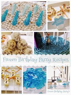 Frozen birthday party idea including recipes for the cake, Sven sandwiches, Elsa's rock crystals, Olaf skewers and more..