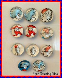 How to make Dr. Seuss magnets. You can use any of your favorite children's books.