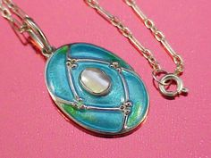 Fabulous murrle bennett & co silver & blister pearl & enamel pendant  very cool piece from Art Nouveau era