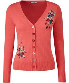 Bringing together beautiful colours and intricate embroidery, this is no ordinary cardigan. Perfect for adding a little vibrancy to your everyday look. Approx Length: 58cm Our model is: 5'8""