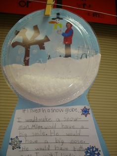 Homemade snow globes, using clear plastic plates and grated foam blocks with child's picture inside.