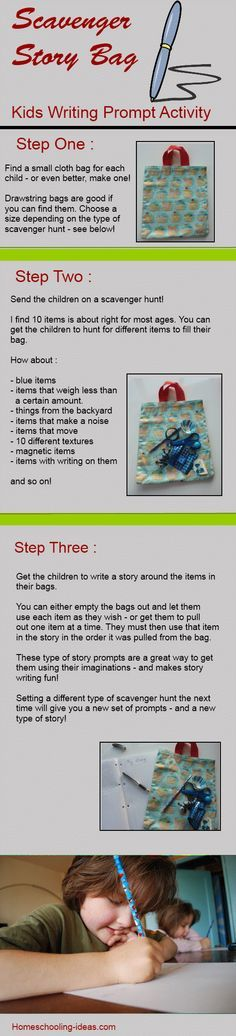 Creative writing idea for kids - make a scavenger story bag.  {something fun too}