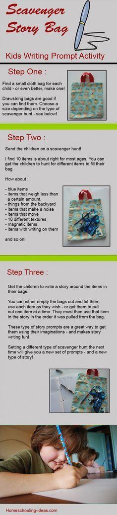 Creative writing idea for kids - make a scavenger story bag.  {something fun too}