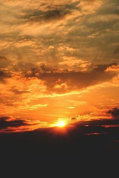 Dark and bright sunset