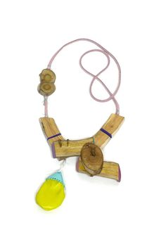 Aric verrastro -Lake Scene #7 -   Necklace  driftwood, leather, PLA, brass, leather, acrylic paint, thread  - buyitnow price 300$
