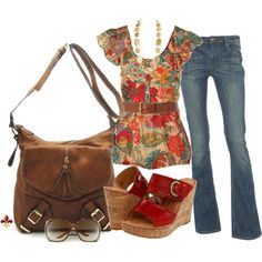 Floral top/ Cork wedges