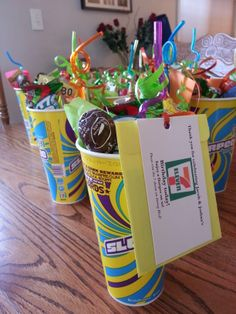 "My boys turned 7 and 11 years old and their birthdays are very close together. For their combined birthday party favor I made these for the guests. ""Thank you for celebrating our 7 eleven birthday today"" Enjoy a slurpee on us! $2 in the envelope behind the card. It's better than all the plastic junk they usually get.  Filled the slurpee cups with some candy, silly straw and tissue paper."