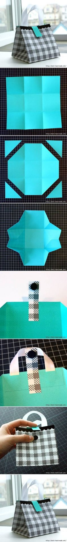 Origami packaging solution folded from a octagon & secured with pretty tape
