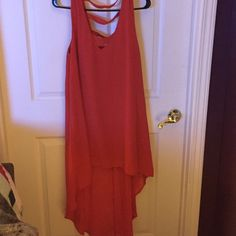 Flowy red orange lined dress. Very easy to wear dress- can be worn as a cover up or an evening dress! Love Riche Dresses High Low