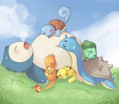Sleepy Team. Snorlax, lapras, pikachu, squirtle, bulbasaur, charmander. Pokemon.