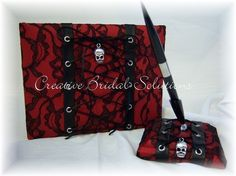 Red Black Lace Gothic Wedding Guest Book and Pen