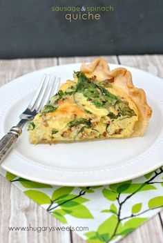 Spinach And Sausage Quiche With Refrigerated Piecrusts, Large Eggs, Heavy Cream, Garlic Powder, Kosher Salt, Black Pepper, Dried Parsley, Dried Minced Onion, Shredded Mozzarella Cheese, Shredded Monterey Jack Cheese, Sausages, Fresh Spinach